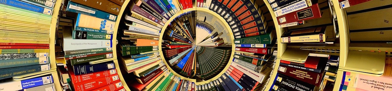 books in circular pattern