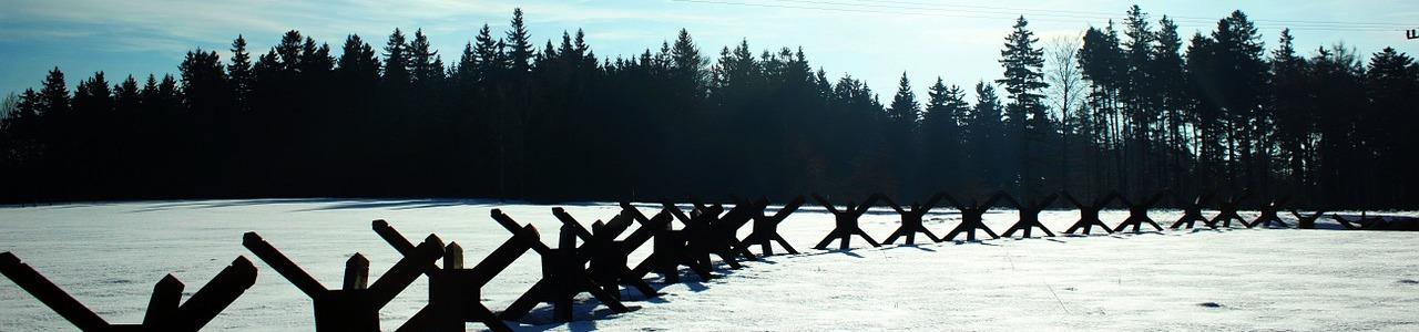 roadblocks on icy road